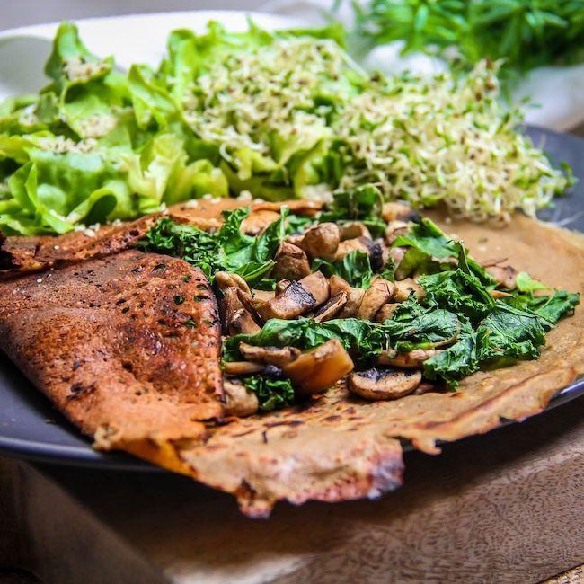 Recette de galette aux champignons et chou kale
