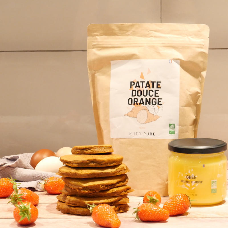 Recette de pancakes à la farine de patate douce orange