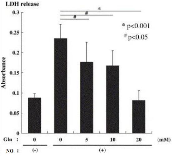 Figure 14 : survie des cellules avec et sans NO à différentes concentrations de glutamine