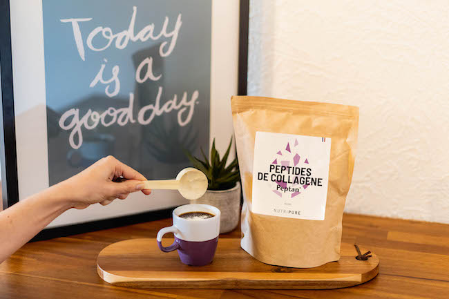 Ajouter dose de collagène Peptan dans le café