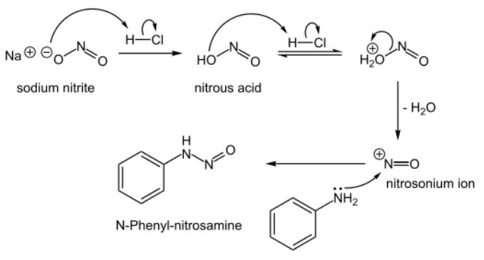 Figure 6 : formation des nitrosamines à partir des nitrites